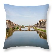 Bridge Over Arno River In Florence Italy Throw Pillow