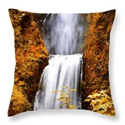Bridge Over Cascading Waters Throw Pillow