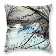 Bridge Over Cocalico Creek  Throw Pillow