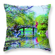 Bridge Over Peaceful Waters Throw Pillow