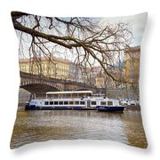 Bridge Over River Vltava Throw Pillow