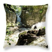Bridge Over The River Braan, And The Black Falls In The Hermitage, At Dunkeld Throw Pillow