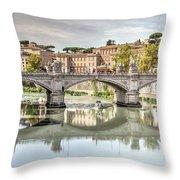 Bridge Over The River Tevere, Rome, Italy Throw Pillow