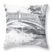 Bridge Over The River White Cart Throw Pillow by Brandy Woods
