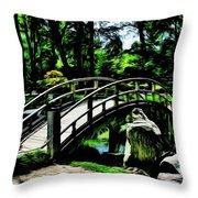Bridge Over The Stream Throw Pillow