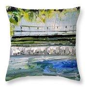 Bridge Over The Weir II Throw Pillow