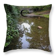 Bridge Over Tranquil Waters Throw Pillow