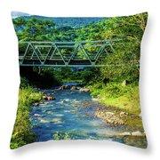 Bridge Over Tropical Dreams Throw Pillow
