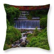 Bridge Over Waterfall Throw Pillow