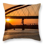 Bridge Sunrise And Boater Throw Pillow