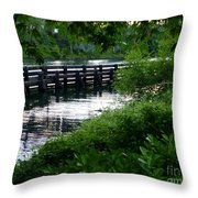 Bridge Through The Trees Throw Pillow