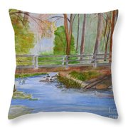 Bridge To Serenity   Smithgall Woods State Park Throw Pillow
