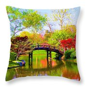 Bridge With Red Bushes In Spring Throw Pillow
