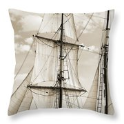 Brigantine Tallship Fritha Sails And Rigging Throw Pillow