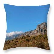 Bright Autumn Panorama Demerji Crimea Peninsula Throw Pillow