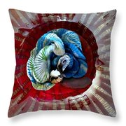 Bright Blue Coral Flower Throw Pillow