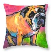 Bright Bulldog Portrait Painting  Throw Pillow