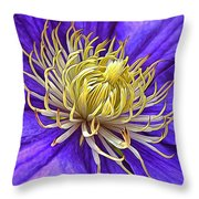 Bright Clematis Center Throw Pillow