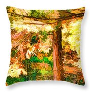 Bright Colored Leaves On The Branches In The Autumn Forest Throw Pillow