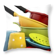 Bright Colorful Modern Kitchen Pot And Pans  Throw Pillow