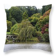 Bright Colors Of Autumn Trees On A Lake , Autumn Landscape. Throw Pillow