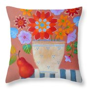 Bright Dahlias Throw Pillow