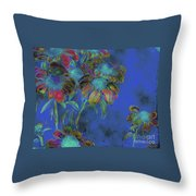 Bright Daisies In Blue Throw Pillow