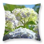 Bright Floral Art Pastel Blue Purple Hydrangeas Flowers Baslee Troutman Throw Pillow