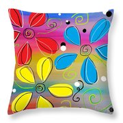 Bright Flowers Intertwined Throw Pillow