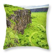 Bright Green Asbyrgi Canyon In Iceland Throw Pillow