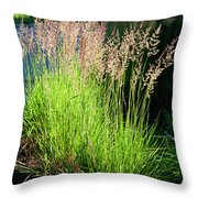 Bright Green Grass By The Pond Throw Pillow