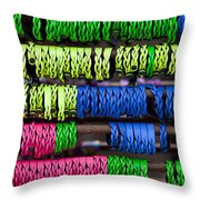 Bright Leather Bracelets Throw Pillow
