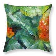 Bright Orange Blooms On A Plant Throw Pillow