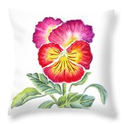 Bright Pansy Throw Pillow