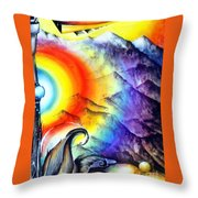 Bright Rainbow And Mountains. Cyborg's Land Throw Pillow