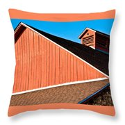 Bright Red Barn Throw Pillow