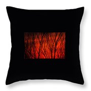 Bright Red Sunset Throw Pillow
