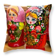 Bright Russian Matrushka Puzzle Dolls Throw Pillow