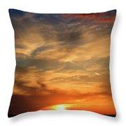 Bright Sundown In Mountains Throw Pillow