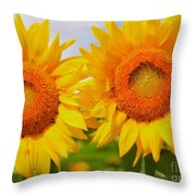 Bright Sunflowers Throw Pillow