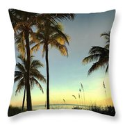 Bright Sunshine Greets The Palms Throw Pillow