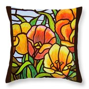 Bright Tulips Throw Pillow