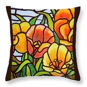 Bright Tulips Throw Pillow