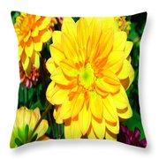 Bright Yellow Dahlia Flower Throw Pillow