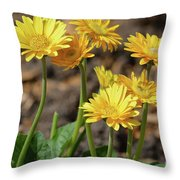 Bright Yellow Flowers  Throw Pillow