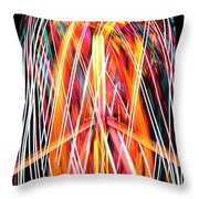 Brightly Colored Abstract Light Painting At Night From The Fireb Throw Pillow