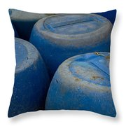 Brightly Colored Blue Barrels Throw Pillow