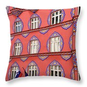 Brightly Colored Facade Of Cooperative Business Bank Building Or Throw Pillow
