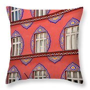 Brightly Colored Facade Vurnik House Or Cooperative Business Ban Throw Pillow
