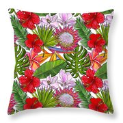 Brightly Colored Tropical Flowers And Ferns  Throw Pillow